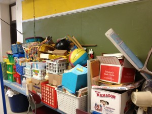 Luckily we have a long shelf on this wall to hold all these belongings while the custodians worked on the floors.